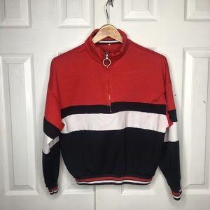 Vintage Red Black & White Quarter Zip Sweatshirt